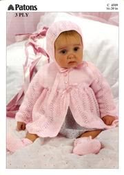 Patons 4509 Jacket Bonnet and Booties Baby Girl Patterns, Baby Sweater Patterns, Baby Cardigan Knitting Pattern, Baby Knitting Patterns, Beanie Pattern, Pink Patterns, Knitting Books, Knitting For Kids, Free Knitting