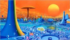 Concept City Art Futuristic designs let us peer into the potential world of fantasy and sci-fi. Trippy, Sci Fi Kunst, Science Fiction Kunst, Arte Sci Fi, 70s Sci Fi Art, Spaceship Art, World Of Tomorrow, Futuristic City, Environment Concept Art