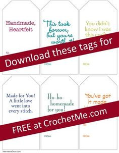 Free Gift Tags for Crocheters - I thought these were a great idea :) I'll probably print them on some nice card stock!