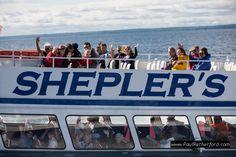 Happy passengers on Sheplers Mackinac Island ferry bridge tour Mackinaw City St. Ignace Michigan Photography by Paul Retherford #puremichigan