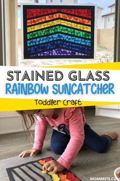 Stained glass rainbow suncatcher is a simple and fun craft for toddlers and preschoolers to celebrate St. Patrick's Day and the beginning of spring! #rainbow #suncathcher #crafts #craftsforkids #art #learning #activities #stpatricksday