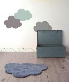 Sticker décoratif chambre d'enfant et bébé: Nuage XL - Motif pluie bleu/gris