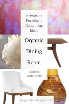 How to Create a Modern Organic Dining Room with Colorful Artwork   contemporary residential interior design ideas   colorful vase   red and yellow organic abstract large artwork