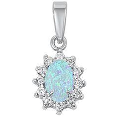 Curvy shape trilliant-cut Amethyst CZ Blue fire opal sterling silver pendant