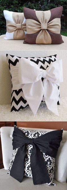 Декоративные подушки с бантиками. Идеи для вдохновения. #navidad