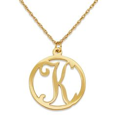 """Gold Over Sterling Single Initial Circle Necklace (Initial """"A""""), Women's, Size: 20 Inch, Yellow"""
