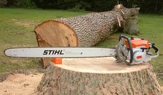 #Stihl 090 chainsaw with 47-inch bar and ripping chain.