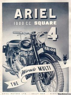 1948 Vintage Ariel Square Four Motorcycle Ad