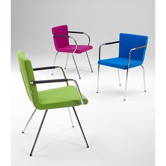 Hopper is a family of chair available with a high or low back, with or without armrests, stackable, with sloping legs in fabric or leather.