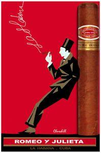 "Vintage Cigar Poster for ""Romeo y Julieta"" cigars, Havana Cuba Good Cigars, Cigars And Whiskey, Cuban Cigars, Vintage Advertising Posters, Vintage Advertisements, Vintage Posters, Print Advertising, Pub Vintage, Vintage Cuba"