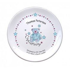 "Teddy & Stars Blue Christening 8"" Coupe Plate. £9.99 #ChristeningGifts #PersonalisedChristeningGifts #BlueTeddy #PersonalisedPlate #ChristeningPlate"