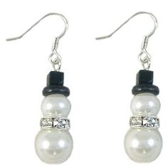 Glass Pearl Snowman Earrings with a hat! Sea Glass Jewelry, Wire Jewelry, Jewelry Crafts, Beaded Jewelry, Jewlery, Earrings Handmade, Handmade Jewelry, Christmas Earrings, Christmas Jewelry