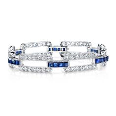 Diamond Sapphire Bracelet - Platinum estate sapphire diamond bracelet circa 1910