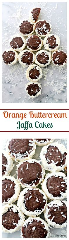 Orange Buttercream Filled Jaffa Cakes {Resanki} - Festive sandwiched Jaffa Cakes filled with Orange Buttercream and covered in shredded coconut. Popular Cookie Recipe, Easy Cookie Recipes, Sweet Recipes, Cake Recipes, Christmas Desserts, Christmas Baking, Fun Desserts, Christmas Cookies, Orange Buttercream
