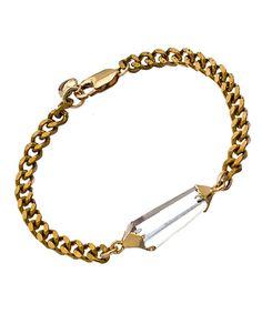 One Oak By Sara Antique Gold Chain Quartz Pendant Bracelet