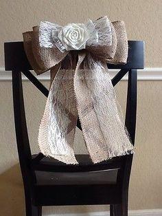 Burlap Lace Flower Ivory Pew Bow Chair Venue Wedding Rustic Chic Primitive