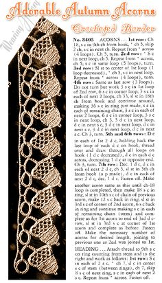Crocheted acorns border Tutorial ★•☆•Teresa Restegui http://www.pinterest.com/teretegui/•☆•★