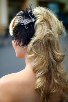 Alissa Black and Champagne Feather Hair Clip