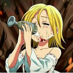 Icons anime Elaine nanatsu no taizai Seven Deadly Sins Anime, 7 Deadly Sins, Elizabeth Liones, Akame Ga, Narusaku, Anime Angel, Sad Girl, Death Note, Anime Girls