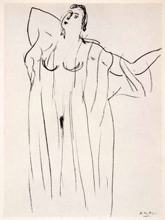 1969 Photolithograph Henri Matisse Pencil Sketch Nude Woman Lingerie Modern XDB7