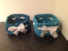 Two medium size crochet baskets. Made of vintage saris. SOLD