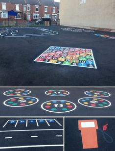 playground markings snakes and ladders, cycle track with parking bays and petrol staton and dance class moves game installed in Durham