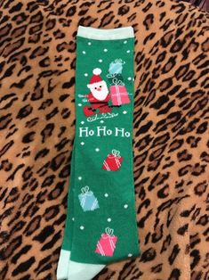 59c1b82dd04 NWT Christmas Ladies Knee Hi Green Socks Ho Ho Ho Santa Claus Presents   fashion  clothing  shoes  accessories  womensclothing  hosierysocks (ebay  link)