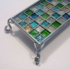 Mosaic Vanity Tray, Silver Beach Glass Tray, Mosaic Candle Tray, Votive Holder Tray, Dresser Caddy, Perfume Caddy