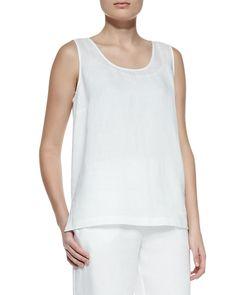Linen Scoop-Neck Tank, Women's, Size: LARGE (12/14), Black - Go Silk
