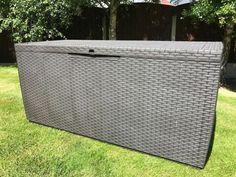 Plastic Garden Storage Box Waterproof Rattan Cushion Chest Deck Patio Outdoor  · $99.99