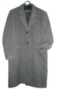 "SOLD! Adams Dark Gray Wool Herringbone Overcoat Fits to 46""Chest Free Shipping Price:US $65.00"