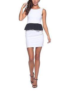 Small, multi (Bianco_ Blu), Solo Capri Women's Abito A Tubino Con Volant Dress N