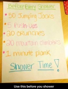 Workout before shower