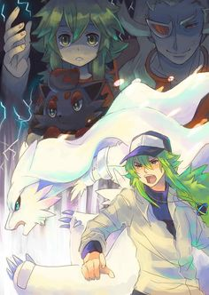 Pokemon art. N and little N, his dad, Zorua and Reshiram