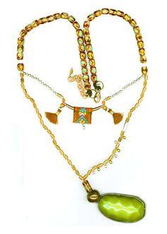 GREEN GLASS NECKLACE WITH GREEN STONE Glass Necklace, Pendant Necklace, Green Stone, Handmade Bracelets, Jewellery, Earrings, Ear Rings, Jewels, Stud Earrings