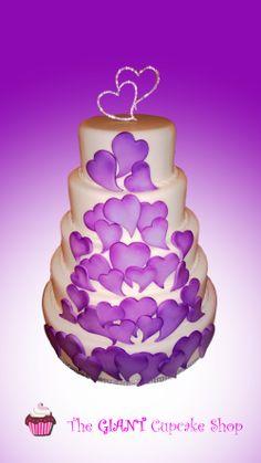 5 tier wedding cake purple hearts - 5 tier wedding cake with shaded purple hearts.