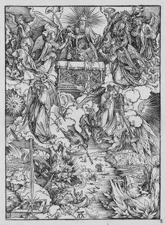 Incisione su legno - Albrecht Durer - Apocalisse. Le sette trombe.