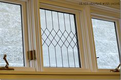 faux-leaded-glass-window-diy.  For the upstairs window above the front door entryway.
