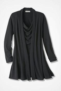 Soft Drape Duster Cardigan, Black