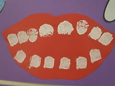 February is National Children's Dental Health Month Dental Health Craft; children sponge paint the number of teeth they have Toddler Crafts, Crafts For Kids, Dental Art, Dental Hygiene, Dental Teeth, Dental Health Month, Oral Health, Health Care, Health Activities