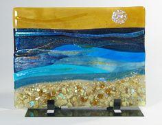 Sunny Beach Scene Fused Glass Panel | sroston - Glass on ArtFire