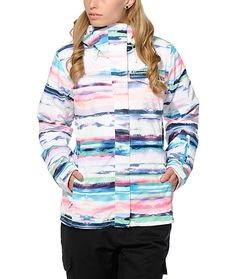 This 3 in 1 insulated snowboard jacket is made with a printed waterproof Driflight shell that helps protect from wind and moisture, and features a removable fleece hoodie for warmth and comfort.