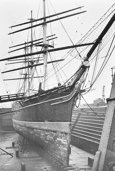 The Cutty Sark in Dry Dock, 1951 - the most famous extreme tea clipper of her age, was finally moored in dry dock at Greenwich in 1954, and opened as a museum in 1957