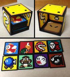 Mario coasters from perler beads Perler Beads, Perler Bead Mario, Fuse Beads, Melty Bead Patterns, Pearler Bead Patterns, Perler Patterns, Perler Coasters, Deco Gamer, Pixel Beads