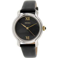Seiko Women's SRZ393 Black Leather Quartz Watch