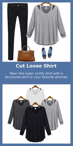 This super comfy shirt comes in 4 colors and features cut-out straps that go from the neckline to the back, and has an over-sized design. Wear it with a structured skirt or your favorite skinnies.
