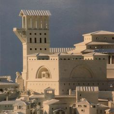 Looking towards the campanile of Leon Krier's Utopian city Atlantis, 1986