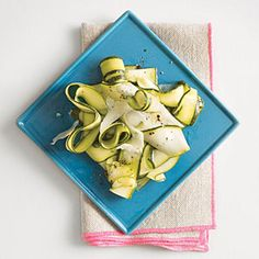 Zucchini Ribbons with Lemon and Pecorino | Cooking Light #myplate #vegetables #dairy