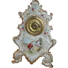 Huge Circa 1880 Antique French Limoges Porcelain Clock from inlovewithantiques on Ruby Lane