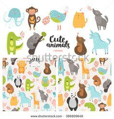 Cartoon animals collection and seamless patterns.  Cute monkey, bird, koala, jellyfish, cat, panda, dog,  crocodile, unicorn, wolf isolated on white background, baby animals in love